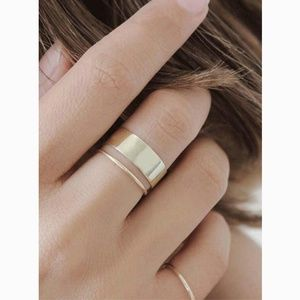 Simple Cuff Gold Ring Set